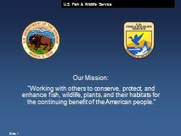 "Our Mission: ""Working with others to conserve, protect, and enhance fish, wildlife, plants, and t"