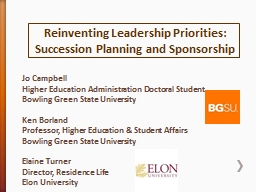 Reinventing Leadership Priorities: Succession Planning and Sponsorship