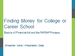 Finding Money for College or Career School