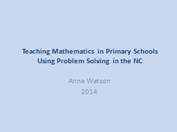 Teaching  Mathematics in Primary Schools Using Problem