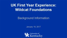 UK First Year Experience: