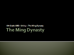 The Ming Dynasty  6 th Grade UBD - Unit 5 –  The Ming Dynasty