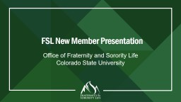 Fraternity/Sorority 101 for New Members PowerPoint PPT Presentation