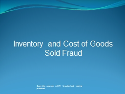 Inventory  and Cost of Goods Sold Fraud