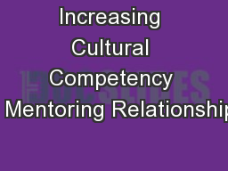 Increasing Cultural Competency in Mentoring Relationships