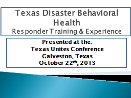 Texas Disaster Behavioral Health