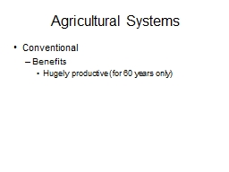 Agricultural Systems Conventional