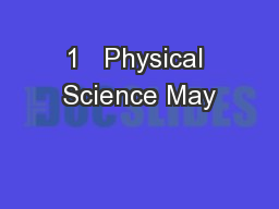 1   Physical Science May