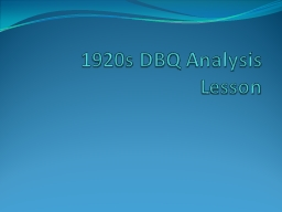 1920s DBQ Analysis Lesson