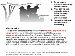 Cenancestor The scientific consensus of the