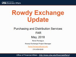 Rowdy Exchange Update Purchasing and Distribution Services