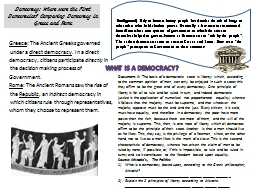 Democracy: Where were the First Democracies? Comparing Democracy in Greece and Rome