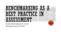 Benchmarking as a best practice in assessment