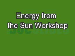 Energy from the Sun Workshop