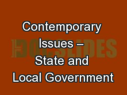 Contemporary Issues – State and Local Government