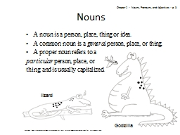 1 Nouns A noun is a person, place, thing or idea.