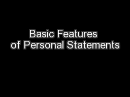 Basic Features of Personal Statements