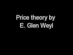 Price theory by E. Glen Weyl