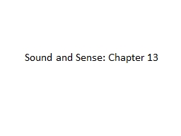 Sound and Sense: Chapter 13