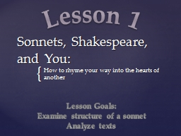 Sonnets, Shakespeare, and You: