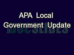 APA  Local Government  Update