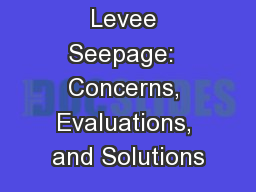 Levee Seepage:  Concerns, Evaluations, and Solutions