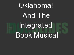Oklahoma! And The Integrated Book Musical