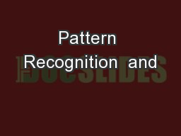Pattern Recognition  and