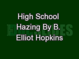 High School Hazing By B. Elliot Hopkins