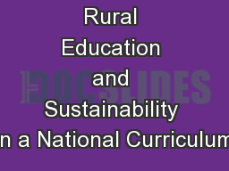 Rural Education and Sustainability in a National Curriculum