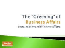"The ""Greening"" of  Business Affairs"