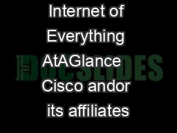 Internet of Everything AtAGlance   Cisco andor its affiliates