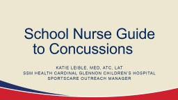 School Nurse Guide to Concussions