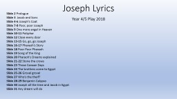 Joseph Lyrics Year 4/5 Play 2018