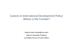 Careers in International Development Policy: