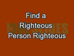 Find a Righteous Person Righteous