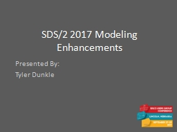 SDS/2 2017 Modeling Enhancements