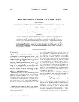 Robust Responses of the Hydrological Cycle to Global Warming SAAC M