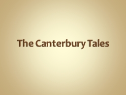 The Canterbury Tales The Tales