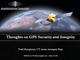 Thoughts on GPS Security and Integrity