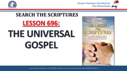 SEARCH THE SCRIPTURES LESSON 696: