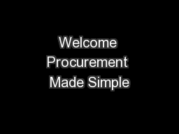 Welcome Procurement Made Simple
