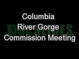 Columbia River Gorge Commission Meeting