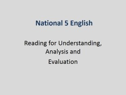 National 5 English Reading for Understanding, Analysis and