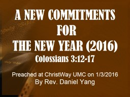A NEW COMMITMENTS  FOR  THE NEW YEAR (2016)