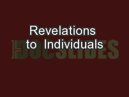 Revelations to  Individuals PowerPoint PPT Presentation