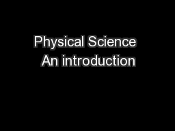 Physical Science An introduction