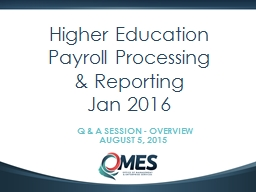 0 Higher Education Payroll Processing & Reporting
