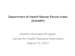 Department of Health Master Person Index (DOHMPI