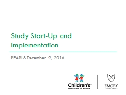 Study Start-Up and Implementation